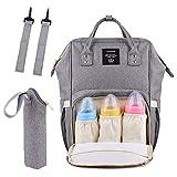 Bolsa de pañales para bebé con interfaz USB de gran capacidad, mochila de viaje de enfermería impermeable bolsa de pañales kits de maternidad, gris, Large