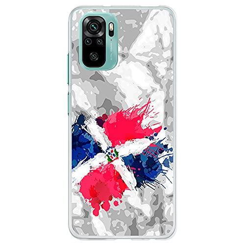 Funda Transparente para [ Xiaomi Redmi Note 10 4G / Redmi Note 10S ], Carcasa de Silicona Flexible TPU, diseño : Bandera Republica Dominicana, Pintura de brocha Fondo Abstracto