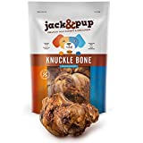 Jack&Pup Knuckle Dog Bones for Aggressive Chewers - Premium Grade Roasted Beef Dog Bones for Large Dogs (4 Pack) 7 inch Large Meaty Dog Treats - All Natural Gourmet Dog Treat Chews