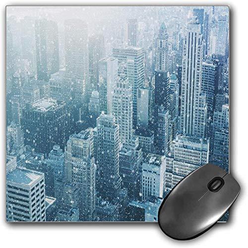 Mouse Pad Gaming Funcional Invierno Alfombrilla de ratón gruesa impermeable para escritorio Nieve en la ciudad de Nueva York Skyline de imagen con rascacielos urbanos en Manhattan Estados Unidos decor