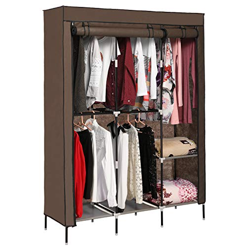 Plohee Clothes Closet Portable Wardrobe Clothes Storage Rack with Shelves Fabric Cover Coffee