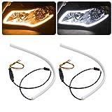 Kingshowstar LED Daytime Running Light, 2 PCS 17.7 In Flexible Car LED Light Bar White/Amber Rear Headlight Decoration Light Kit for Car Turn Signal Tube Light