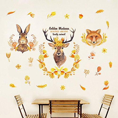 Adhesivo decorativo para pared con diseño de conejo, zorro y ciervos, decoración para habitación y sala de estar