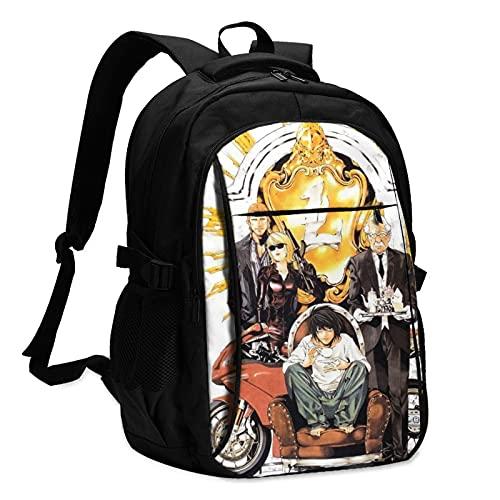 Death Note Las mochilas para hombre y mujer con cable de datos USB y conector de música se pueden cargar en un solo paso para escuchar canciones