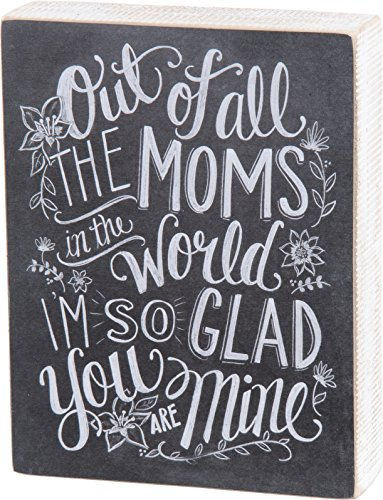 Primitives by Kathy Chalk Sign, 6-Inch by 7.75-Inch, All The Moms