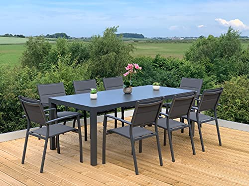 GSD Sydney Aluminium Dining Sets w/Textured Glass Table Tops, Paded Weatherproof Textilene Stacking Chairs (Sydney 8 Seat Rectangular Dining Set)