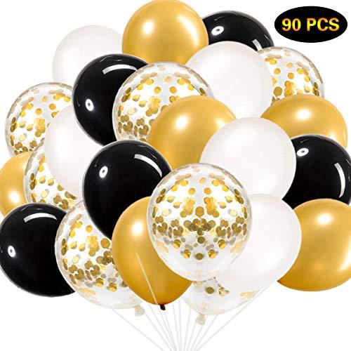 SZHUIHER Schwarz und Gold Luftballons, Schwarz Gold Weiß Luftballons Insgesamt 90 Stück Latex Party Luftballons für Junggesellinnenabschied Hochzeit Baby Shower Birthday Party Dekoration