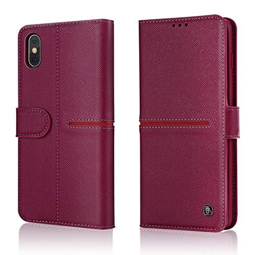 iPhone Echte Lederen Hoes, Gebei Aceh Series Mobiele Telefoon Boek Portemonnee Clamshell Onzichtbare Magnetische Gesp Cover voor iPhone, Stand Case, iPhone XR, Rood