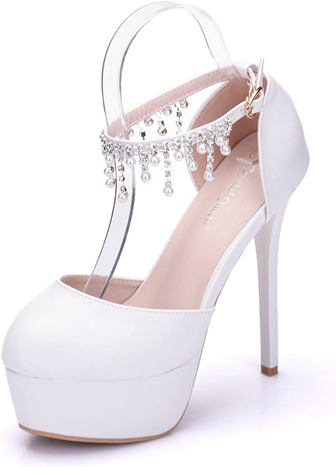 TUYPSHOES Women Pumps Closed Toe Platform High Heel Buckle Lace Wedding Bridal shoes