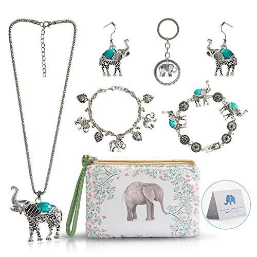 Elephant Jewelry Sets for Women Girls,Vintage Silver Ethnic Tribal Elephant Jewelry with Elephant Makeup Bag for Elephant Lover Gift