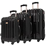 kensie 3 Piece 'Alma' Light Metallic Style TSA-Lock Spinner Luggage Set, Midnight Black Option