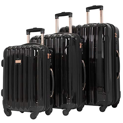 "kensie 3 Piece ""Alma"" Light Metallic Style TSA-Lock Spinner Luggage Set, Midnight Black Option"