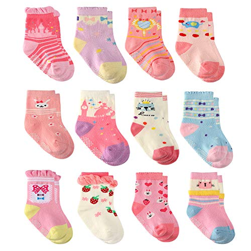 Wobon 12 Pares para Algodón Recién Nacido Infantil Niña Calcetines, Calcetines Antideslizantes para Bebé Niñas (12 pares princesa, 9-18 meses)