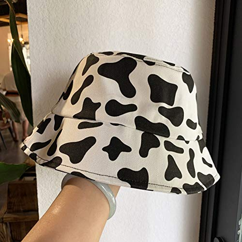 HSCW New Korean Version Foldable Fashion Black and White Cow Pattern Bucket Hats Sun Cap Simplicity All-Match Pure Cotton Breathable UV Protection Fisherman's Hat Men and Women