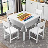 Square Table Cover Washable Polyester Spill Proof Boardwalk in Mangrove for (Square,138x138 inch) for Kitchen Dining Table top Decoration Outdoor Picnic Square