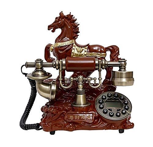 DIHAO Teléfono Vintage Teléfono Retro con, dial y clásico Acabado de Metal en Bronce Teléfonos Fijos, teléfono Retro con Cable Teléfonos Decorativos Vintage