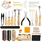 Leather Sewing Tools SIMPZIA 25 Pieces Leather Tools Craft DIY Hand Stitching Kit with Groover Awl Waxed Thimble Thread for Sewing Leather, Canvas,Basic Tools for Beginner