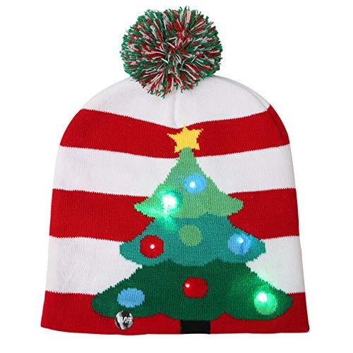 Ironhorse Decoraciones de Navidad Led Luces de punto Sombreros de Navidad Coloridas Luces deslumbrantes Sombreros de punto luminosos