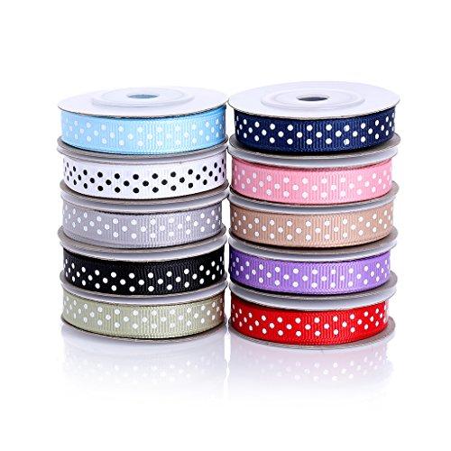 BeiLan cinta de raso de punto de polka,54 yardas/50M 10mm tela cinta satinado 10 rollo(5 metros cada rollo)