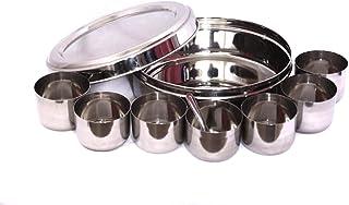 Shanika Boîte à épices indienne en acier inoxydable Masala Dabba avec compartiments, Namak Dani avec 7 récipients, cuillèr...