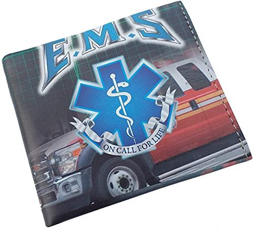 Cartera EMS Técnico Emergencia Sanitaria 11x9,5 cm Impresa con Grabado de técnico de emergencias para Regalo, Monedero, Cartera de Hombre y Mujer Albainox 34947 + Portabotellas de Regalo