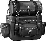 Motorcycle Sissy Bar Touring Luggage w/Studs 2 Piece Bag Set Cruiser (Black)