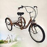 HaroldDol – Triciclo para Adultos, 24 Pulgadas, 6 Marchas, 3 Ruedas, Bicicleta...
