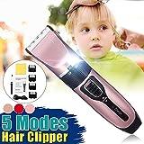 Oulida Set de barbero Pelo eléctrico Clippers Largo de Cabello Profesional de Carga Regulable Hombres máquina de Cortar el Pelo Peluquero peluquería niños WSL toufahuli