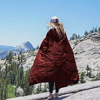 Jolitac Couverture de camping en duvet imperméable pour intérieur ou extérieur, idéale pour le camping, les voyages en avion, la voile, la terrasse, les stades, les festivals, la randonnée (rouge)