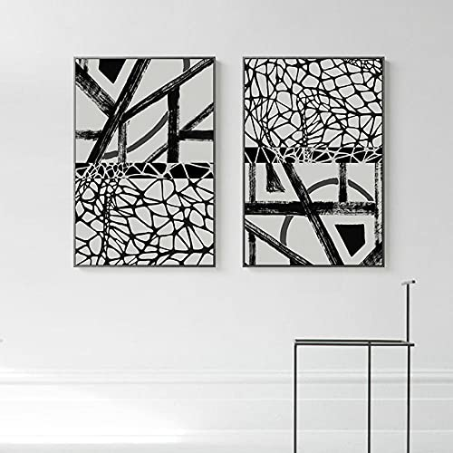 YCHND Línea de Empalme de Diamantes cuadrode la Lona cuadrocolgante Arte de la Pared Cartel Abstracto Impresión Sala de Estar Estudio Decoración de la Pared del hogar Imagen 40x60cmx2 Sin Marc