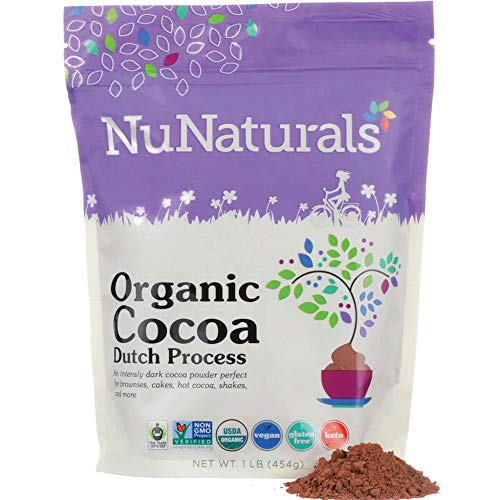NuNaturals Premium Organic Dutch Processed Cocoa Powder for Baking, Non-GMO, Fair Trade Cocoa 76 Servings (1 lb)