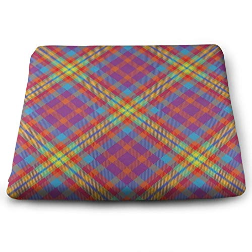 Retro Colorful Tartan Scotland Plaid Chair Seat Cushions Pads Memory Foam Office Dining Kitchen Soft Chair Cushion Set of 4 for Pressure Relief, Wheelchairs, Patio, Cafe, Garden, Indoor, Non Slip