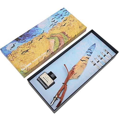 Bolígrafo de plumas, juego de bolígrafos de plumas, herramientas de escritura de punta de acero inoxidable tipo UE retro(Wheat field)