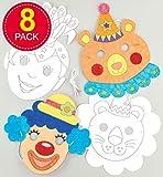"""Baker Ross Masken """"Zirkus"""" zum Ausmalen (8 Stück) – Masken mit verschiedenen Zirkusmotiven..."""