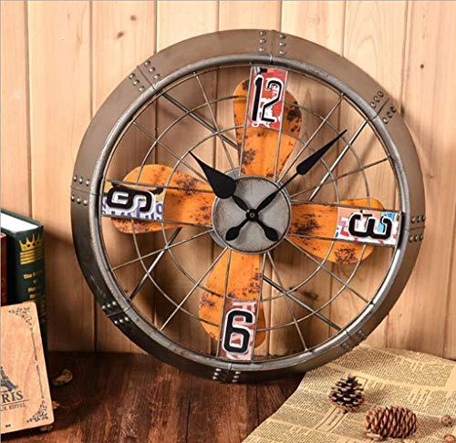 YZY Garten Wand Fan Uhr, 40CM Übergroße Retro Gear Wanduhr wasserdichte Vintage Garten Ornament Für Garten/Patio/Hof
