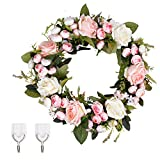 LIVILAN Artificial Roses Flowers Wreath 13 Inch Floral Garland Welcome Door Wreath Vintage Fake Flowers with Green Leaves for WeddingPartyHomeDecor Lintel Decoration Light Pink