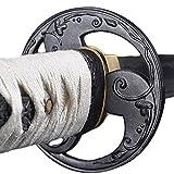Handmade Sword - Samurai Katana Sword, Practical, Hand Forged, 1045 Carbon Steel, Heat Tempered/Clay Tempered, Full Tang, Sharp, Scabbard (Tomoe Crest)