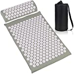ESUP Acupressure Mat and Pillow Massage Set for Back, Neck, Headaches Muscle Relaxation,Sciatic Pain Relief and Trigger Point Therapy, Best Mothers Day Gifts (Gray)