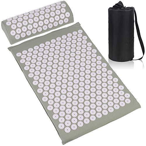 ESUP Acupressure Mat and Pillow Massage Set for Back Neck Headaches Muscle RelaxationSciatic Pain Relief and Trigger Point Therapy Best Mothers Day Gifts Gray