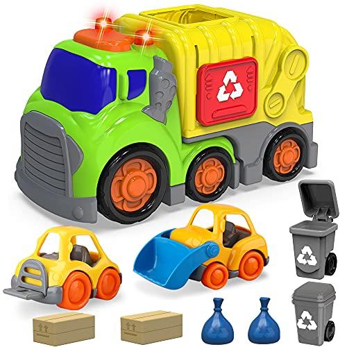 Coches de juguete para niños y niñas de 1, 2, 3 y 4 años, con 2 cubos de basura, carretilla elevadora pequeña bulldozer, camión de basura con sonido y luz, vehículos de juguete para niños