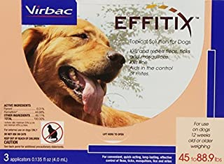 Effitix Flea & Tick Topical Solution for Dogs, 45-88.9 lb, 3 count