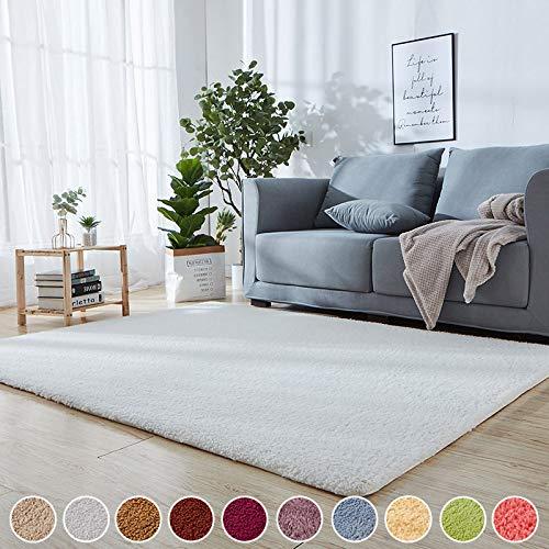 SODKK Flauschig Weiche Nachahmung Wolle Teppich Weiß 150 x 230 cm Teppichbodenmatte Antistatisch 8 Rug Grippers Rutschfester Teppichunterlage für Schlafzimmer, Esszimmer, Flur