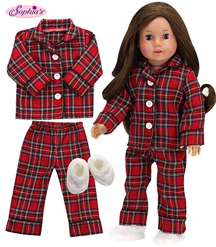 18 Inch Doll PJs for Boy or Girl by Sophia's | Red Flannel Pajama Top and Bottoms with White Slippers, 3 Piece Set