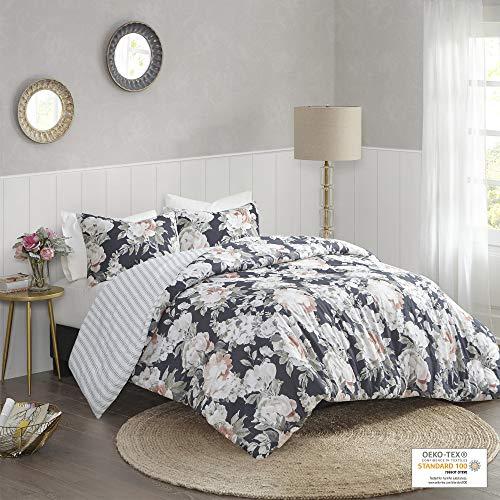 "Madison Park 100% Cotton Duvet Set Beautiful Floral Design, All Season, Breathable Comforter Cover Bedding Set, Matching Shams, King/Cal King(104""x92""), Mavis Dark Blue 3 Piece"