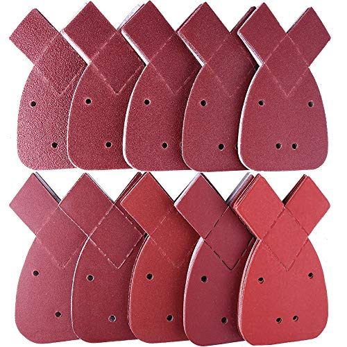 SIQUK 100 Piezas Hojas de lija detalles de mouse 2 puntas adicionales gancho y bucle surtidos 40/60/80/100/120/180/240/320/400/800 granos para adaptarse al negro y al apilador Detalles Palm Sander