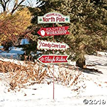 North Pole and Santa's Workshop Directional Yard Sign for Christmas