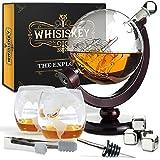 Whisiskey® Whisky Karaffe - Globus - Whiskey Karaffe Set - 900 ml - Geschenke für Männer - Inkl. 4 Whisky Steine, 2 Whisky Gläser & Ausgießer