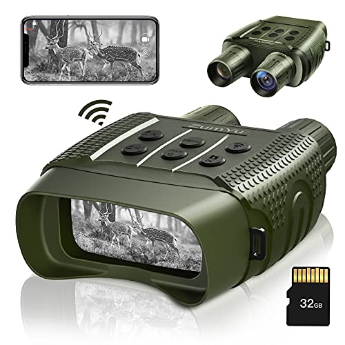 ZumYu WiFi Night Vision Binoculars Goggles Digital Infrared Binoculars for Completely Darkness Spy Gear - Large Screen & 1000ft Viewing Distance with 32 GB SD Card for Travelling, Sightseeing, Hunting
