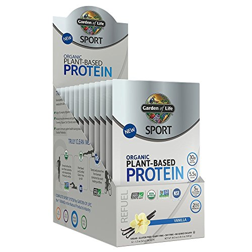 Garden Of Life Sport Organic Plant-Based Protein - BCAA Amino Acid Protein Powder, Vanilla, 12 Count