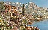 Rompecabezas Niños Y Adultos 300 Piezas, Pintura Al Óleo Antigua del Lago De Garda Rompecabezas para Niños 38X26Cm
